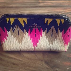 Coach Small Cosmetic Pouch ~ Hawk Feather Print